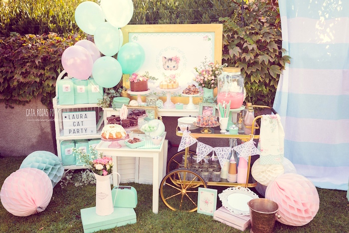 Whimsical Shabby Chic Cat Themed Birthday Party on Kara's Party Ideas | KarasPartyIdeas.com (25)