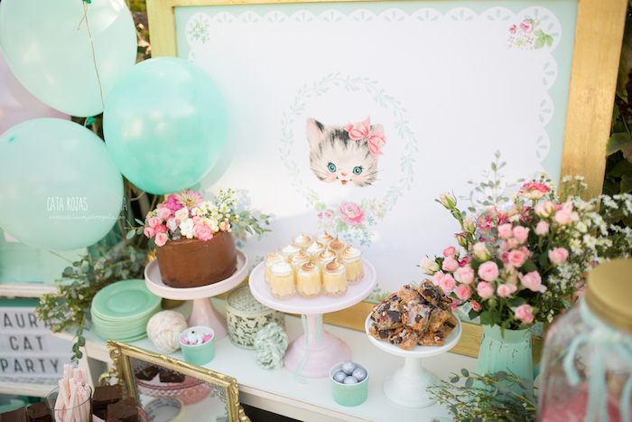 Karas Party Ideas Whimsical Shabby Chic Cat Themed Birthday Party