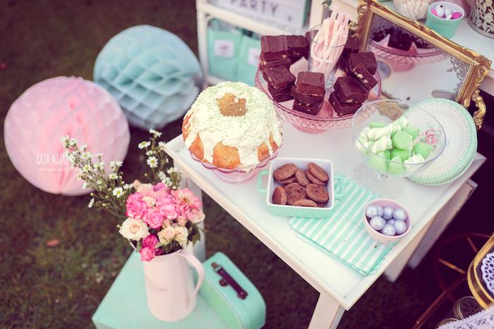 Mini dessert table from a Whimsical Shabby Chic Cat Themed Birthday Party on Kara's Party Ideas | KarasPartyIdeas.com (23)