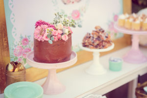 Flower-topped cake from a Whimsical Shabby Chic Cat Themed Birthday Party on Kara's Party Ideas | KarasPartyIdeas.com (40)