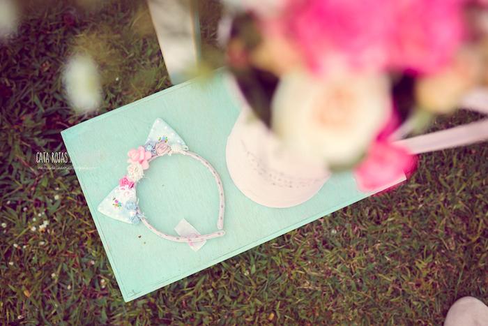 Kitty cat headband from a Whimsical Shabby Chic Cat Themed Birthday Party on Kara's Party Ideas | KarasPartyIdeas.com (21)