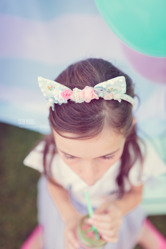 Kitty cat headband from a Whimsical Shabby Chic Cat Themed Birthday Party on Kara's Party Ideas | KarasPartyIdeas.com (20)