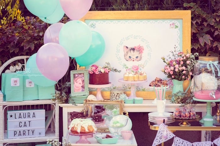 cat themed birthday party Kara's Party Ideas Whimsical Shabby Chic Cat Themed Birthday Party  cat themed birthday party