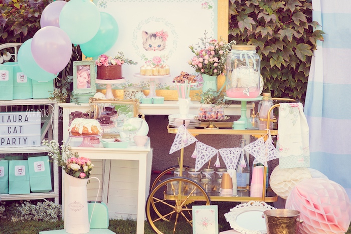 Dessert spread from a Whimsical Shabby Chic Cat Themed Birthday Party on Kara's Party Ideas | KarasPartyIdeas.com (14)