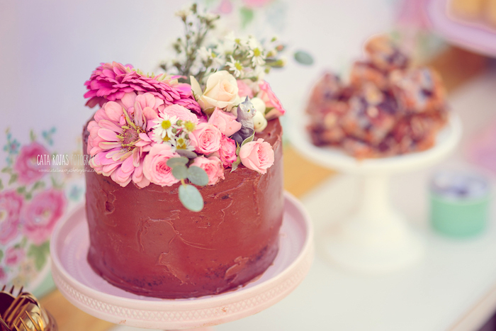 Chocolate Cake Topped With Fresh Flowers From A Whimsical Shabby Chic Cat Themed Birthday Party On