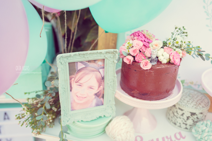 Chocolate cake topped with flowers from a Whimsical Shabby Chic Cat Themed Birthday Party on Kara's Party Ideas | KarasPartyIdeas.com (9)