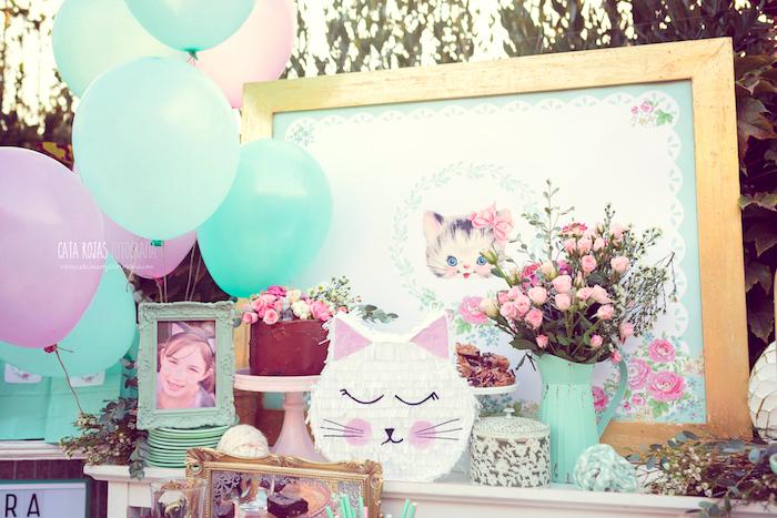 Cake table from a Whimsical Shabby Chic Cat Themed Birthday Party on Kara's Party Ideas | KarasPartyIdeas.com (8)