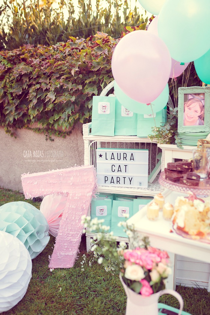 Favors + decor from a Whimsical Shabby Chic Cat Themed Birthday Party on Kara's Party Ideas | KarasPartyIdeas.com (7)