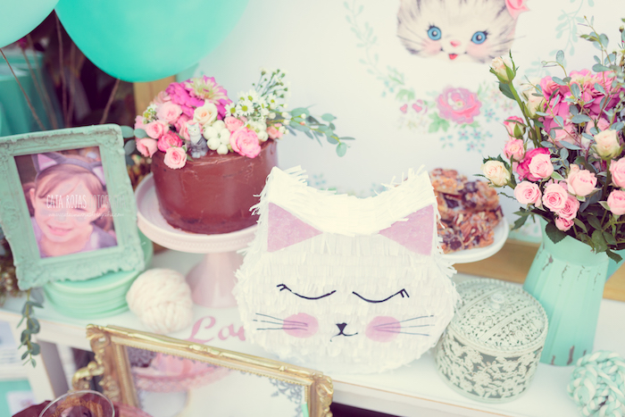 Cake table detail from a Whimsical Shabby Chic Cat Themed Birthday Party on Kara's Party Ideas | KarasPartyIdeas.com (6)