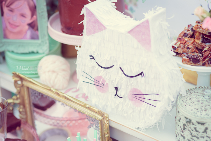 Kitty pinata from a Whimsical Shabby Chic Cat Themed Birthday Party on Kara's Party Ideas | KarasPartyIdeas.com (5)