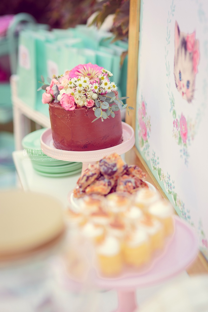 Cakescape from a Whimsical Shabby Chic Cat Themed Birthday Party on Kara's Party Ideas | KarasPartyIdeas.com (38)