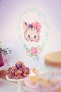 Vintage kitty cat backdrop from a Whimsical Shabby Chic Cat Themed Birthday Party on Kara's Party Ideas | KarasPartyIdeas.com (37)