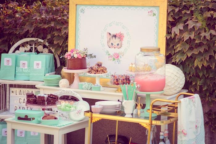Whimsical Shabby Chic Cat Themed Birthday Party on Kara's Party Ideas | KarasPartyIdeas.com (36)