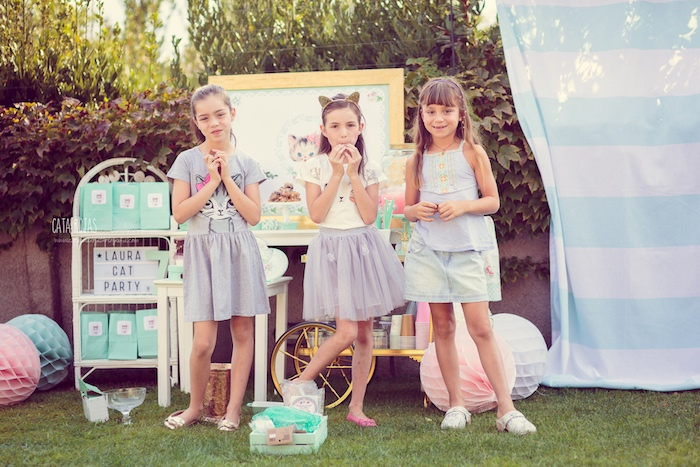Little girls from a Whimsical Shabby Chic Cat Themed Birthday Party on Kara's Party Ideas | KarasPartyIdeas.com (35)
