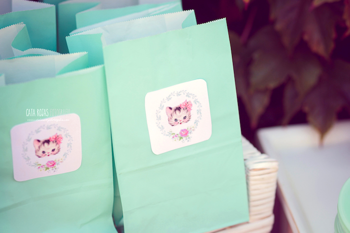 Kitty cat gift bags from a Whimsical Shabby Chic Cat Themed Birthday Party on Kara's Party Ideas | KarasPartyIdeas.com (34)