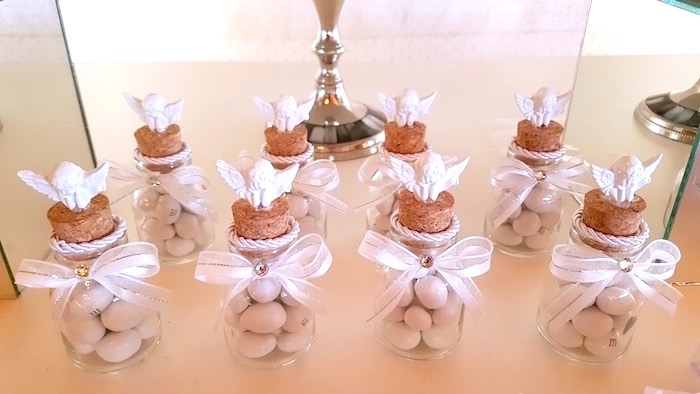Angel cork bottle favor jars from a White Angel Baptism Party on Kara's Party Ideas | KarasPartyIdeas.com (11)