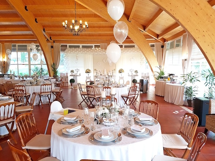 Guest tables from a White Angel Baptism Party on Kara's Party Ideas | KarasPartyIdeas.com (10)