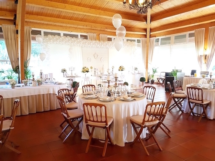 Guest table from a White Angel Baptism Party on Kara's Party Ideas | KarasPartyIdeas.com (7)