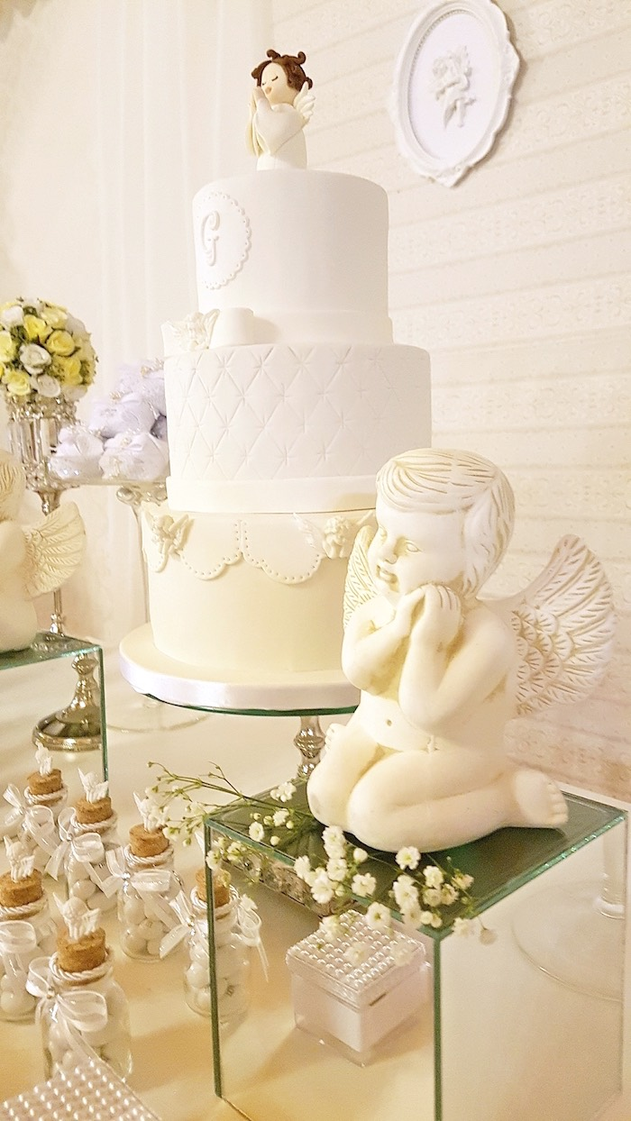 Angel themed cake from a White Angel Baptism Party on Kara's Party Ideas | KarasPartyIdeas.com (24)