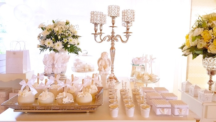 Sweets + favors from a White Angel Baptism Party on Kara's Party Ideas | KarasPartyIdeas.com (23)