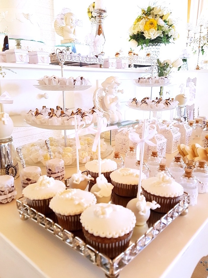 Cupcakes and sweets from a White Angel Baptism Party on Kara's Party Ideas | KarasPartyIdeas.com (20)