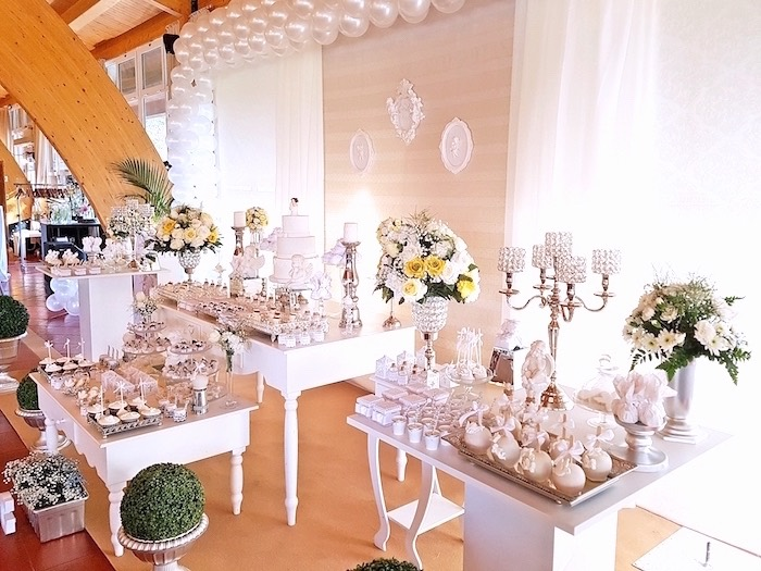 Dessert + favor tables from a White Angel Baptism Party on Kara's Party Ideas | KarasPartyIdeas.com (16)