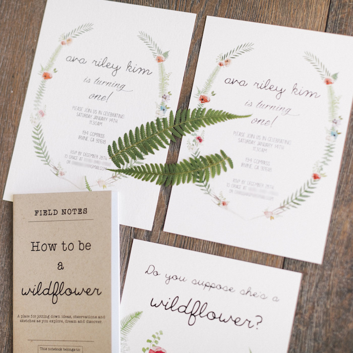 Wildflower Party Invitation from a Wildflower First Birthday Party on Kara's Party Ideas | KarasPartyIdeas.com (32)
