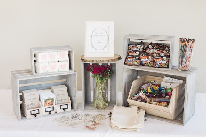 Wood crate favor table from a Wildflower First Birthday Party on Kara's Party Ideas | KarasPartyIdeas.com (29)