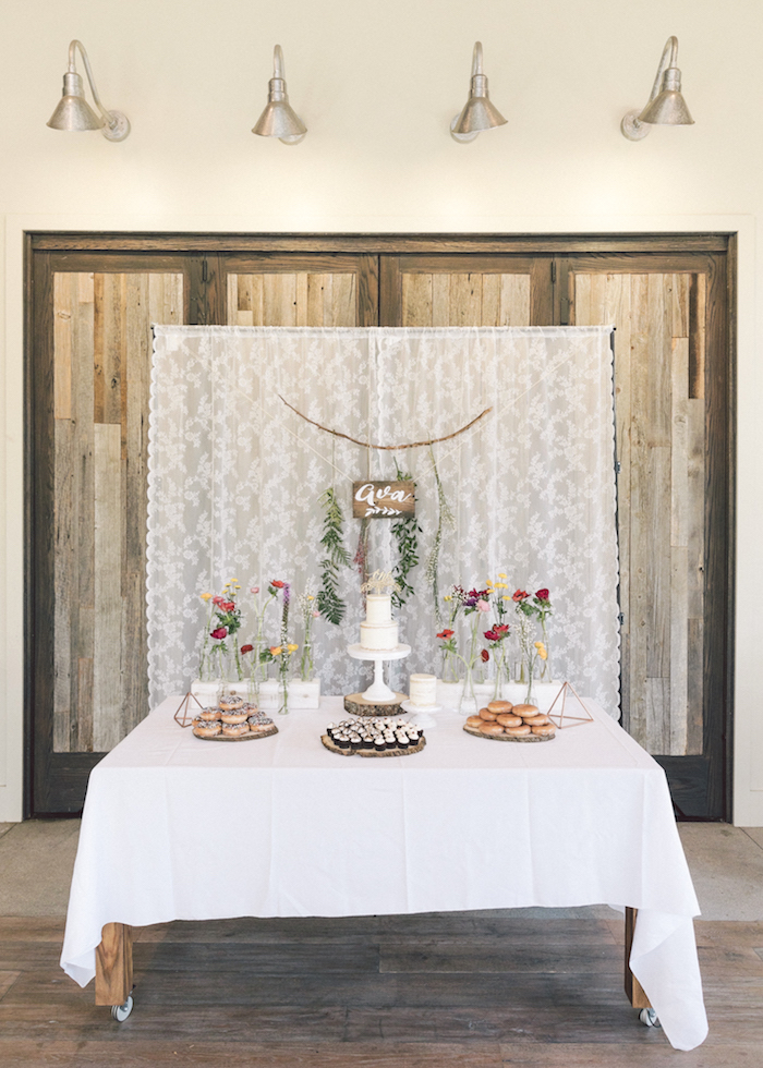 Full dessert table from a Wildflower First Birthday Party on Kara's Party Ideas | KarasPartyIdeas.com (19)