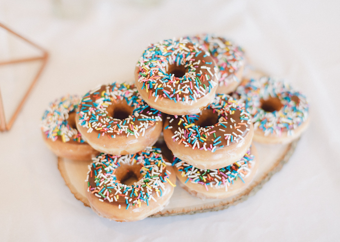 Sprinkled doughnuts from a Wildflower First Birthday Party on Kara's Party Ideas | KarasPartyIdeas.com (41)