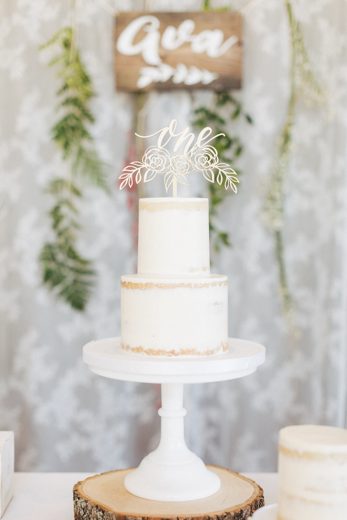 Two-tiered white cake from a Wildflower First Birthday Party on Kara's Party Ideas | KarasPartyIdeas.com (11)