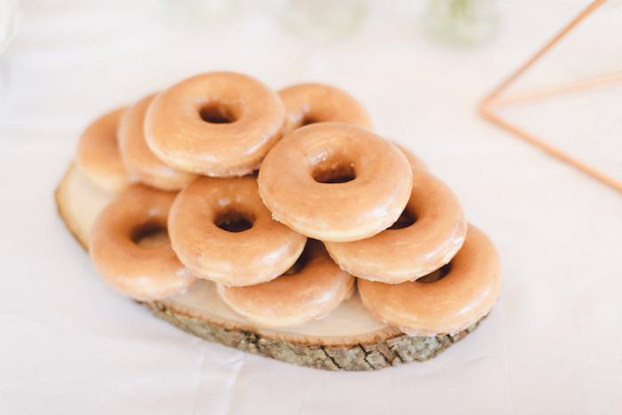 Glazed doughnuts form a Wildflower First Birthday Party on Kara's Party Ideas | KarasPartyIdeas.com (40)