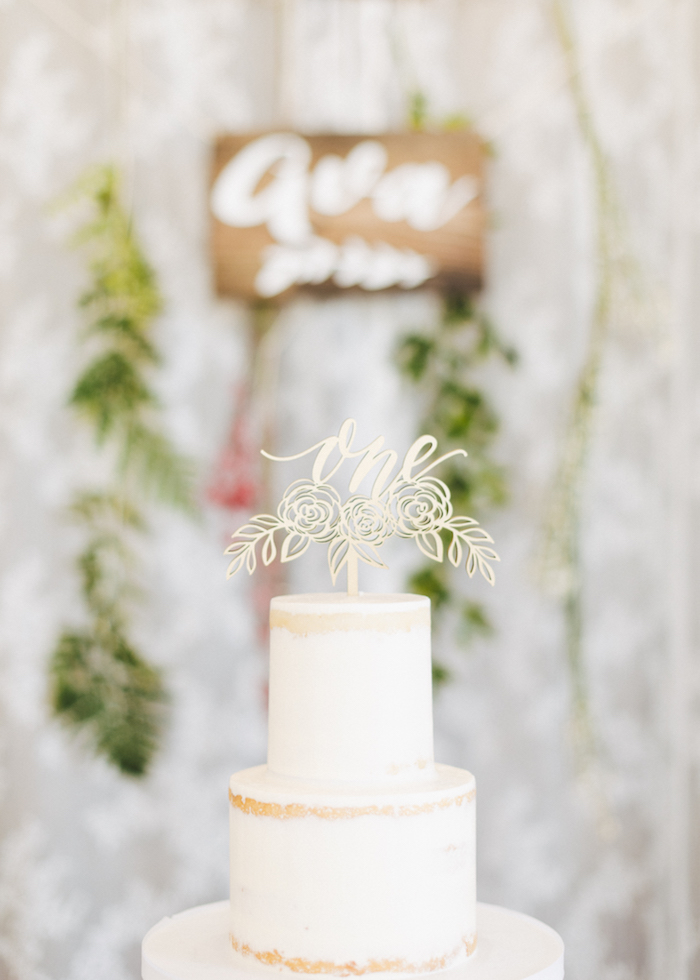 Wooden flower cake topper from a Wildflower First Birthday Party on Kara's Party Ideas | KarasPartyIdeas.com (37)