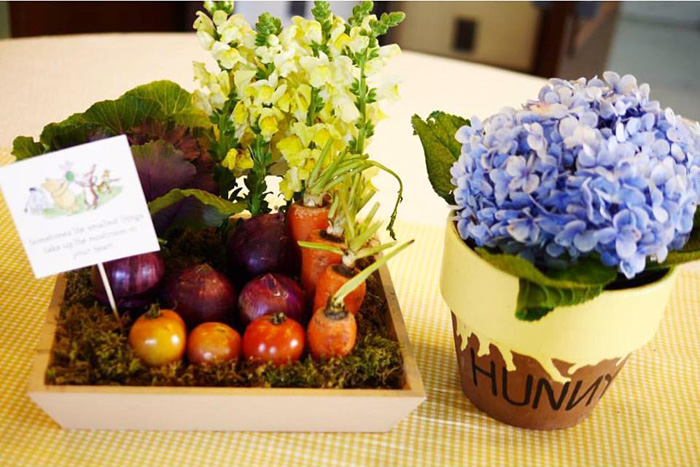 Garden centerpieces from a Winnie the Pooh Birthday Party on Kara's Party Ideas | KarasPartyIdeas.com (12)