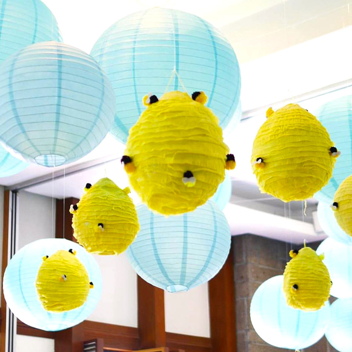 Paper lantern beehives from a Winnie the Pooh Birthday Party on Kara's Party Ideas | KarasPartyIdeas.com (11)