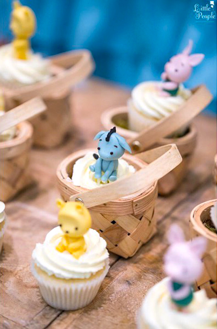 Cupcakes in picnic baskets from a Winnie the Pooh Birthday Party on Kara's Party Ideas | KarasPartyIdeas.com (9)