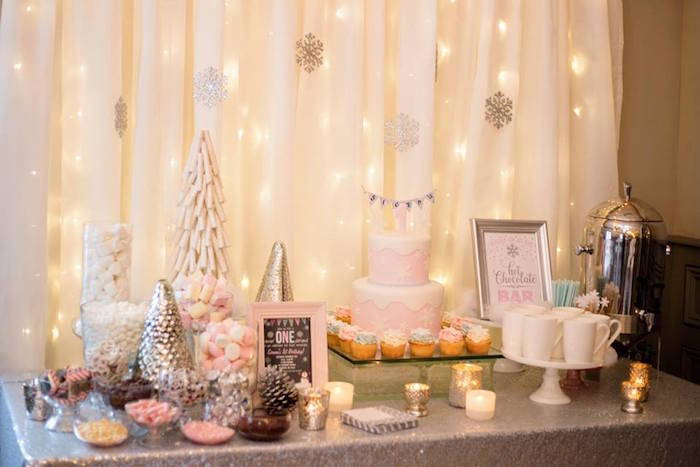 Winter party table from a Winter ONEderland First Birthday Party on Kara's Party Ideas | KarasPartyIdeas.com (26)