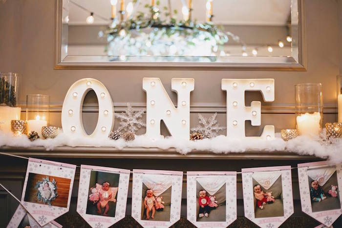 Winter marquee light display from a Winter ONEderland First Birthday Party on Kara's Party Ideas | KarasPartyIdeas.com (24)