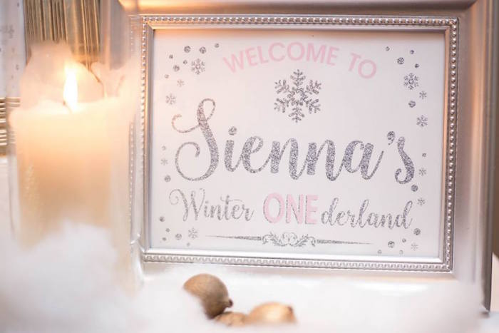Winter party signage from a Winter ONEderland First Birthday Party on Kara's Party Ideas | KarasPartyIdeas.com (23)