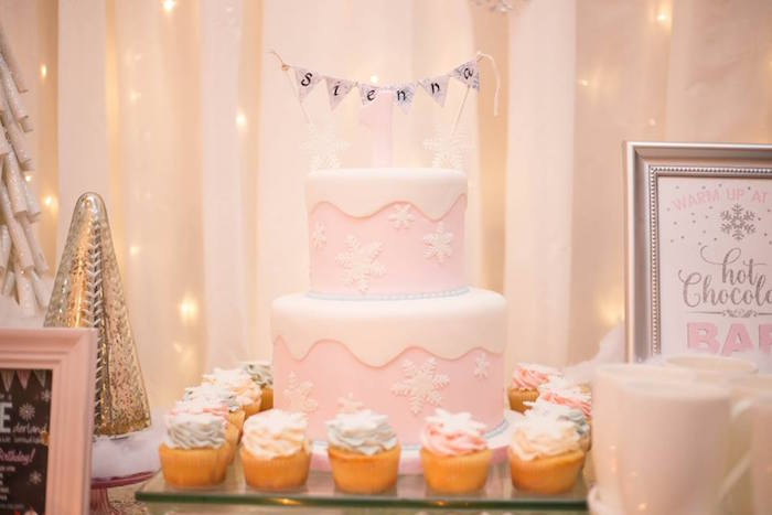 Girly snowflake cake from a Winter ONEderland First Birthday Party on Kara's Party Ideas | KarasPartyIdeas.com (22)