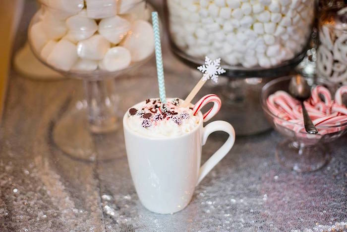 Hot chocolate cup from a Winter ONEderland First Birthday Party on Kara's Party Ideas | KarasPartyIdeas.com (20)