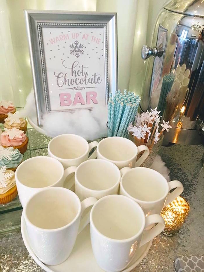 Hot cocoa mugs + straws & stirrers from a Winter ONEderland First Birthday Party on Kara's Party Ideas | KarasPartyIdeas.com (37)