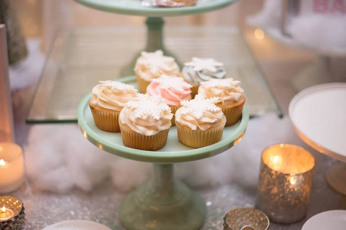 Snowflake cupcakes from a Winter ONEderland First Birthday Party on Kara's Party Ideas | KarasPartyIdeas.com (17)