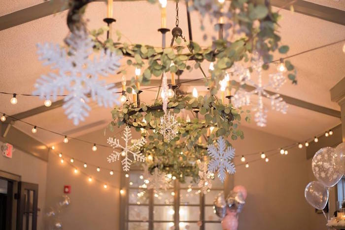 Overhead bunting from a Winter ONEderland First Birthday Party on Kara's Party Ideas | KarasPartyIdeas.com (16)