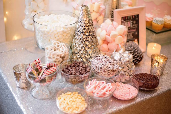 Hot chocolate bar toppings from a Winter ONEderland First Birthday Party on Kara's Party Ideas | KarasPartyIdeas.com (13)