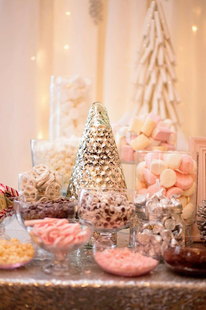 Hot chocolate bar from a Winter ONEderland First Birthday Party on Kara's Party Ideas | KarasPartyIdeas.com (12)
