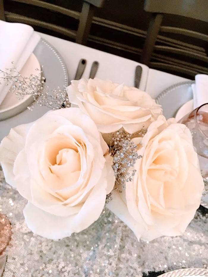 Winter blooms from a Winter ONEderland First Birthday Party on Kara's Party Ideas | KarasPartyIdeas.com (10)