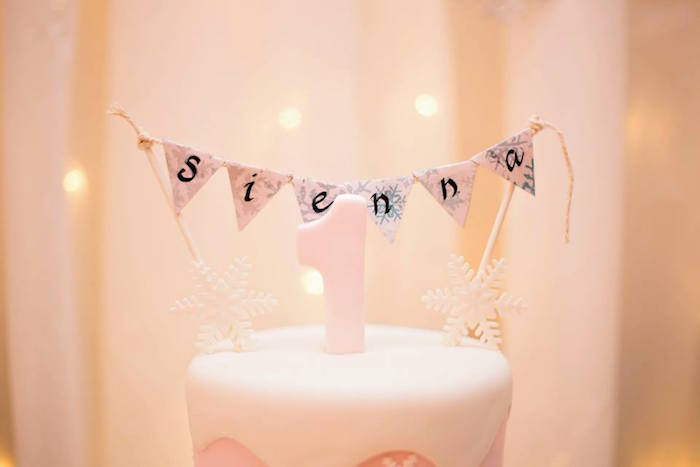Cake banner from a Winter ONEderland First Birthday Party on Kara's Party Ideas | KarasPartyIdeas.com (9)