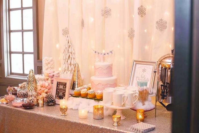 Cake table + hot chocolate bar from a Winter ONEderland First Birthday Party on Kara's Party Ideas | KarasPartyIdeas.com (7)