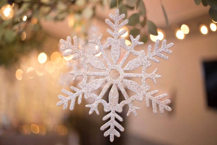 Hanging snowflake from a Winter ONEderland First Birthday Party on Kara's Party Ideas | KarasPartyIdeas.com (6)